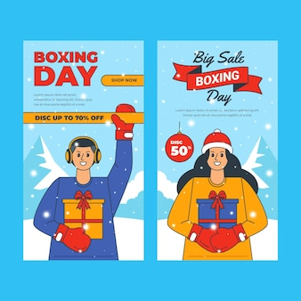 Hand drawn flat boxing day sale vertical banners set