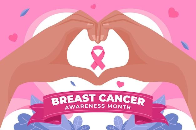손으로 그린 평면 유방암 인식의 달 배경 무료 벡터