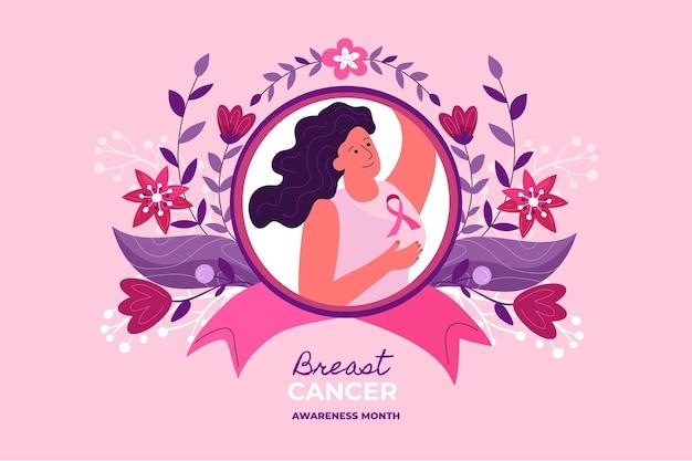手描きフラット乳がん啓発月間背景