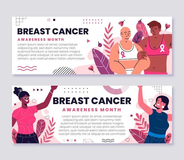 Hand drawn flat breast cancer awareness month banners set