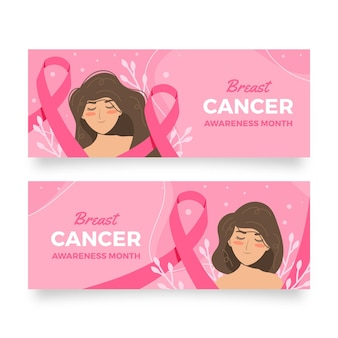Set di banner orizzontali di mese di consapevolezza del cancro al seno piatto disegnato a mano