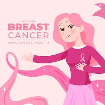 Illustrazione disegnata a mano del mese di consapevolezza del cancro al seno piatto