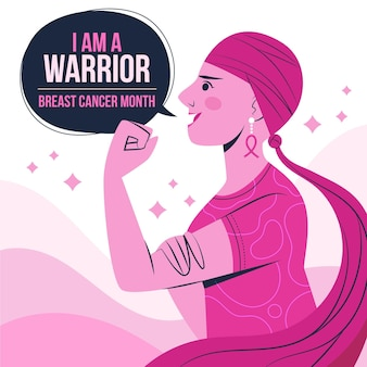Hand drawn flat breast cancer awareness month illustration
