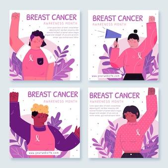 Нарисованный от руки плоский месяц осведомленности рака груди коллекция сообщений instagram