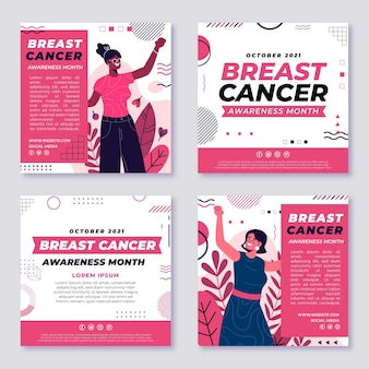 Hand drawn flat breast cancer awareness month instagram posts collection