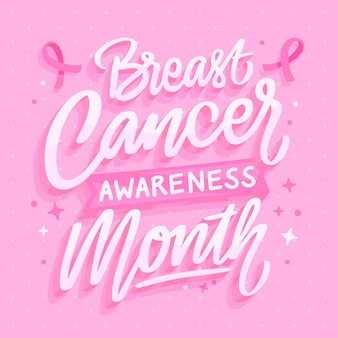 Hand drawn flat breast cancer awareness month lettering