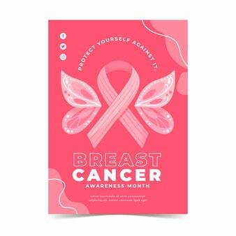 손으로 그린 평면 유방암 인식의 달 수직 전단지 템플릿