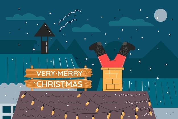 サンタが煙突で立ち往生している手描きのフラットなクリスマスの背景