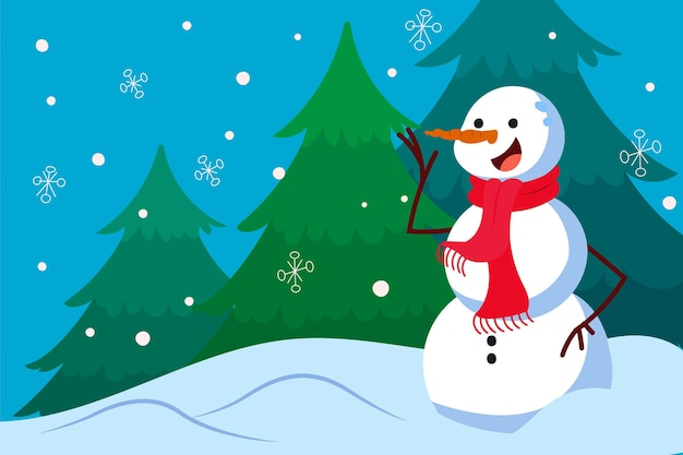 Hand drawn flat christmas background with snowman