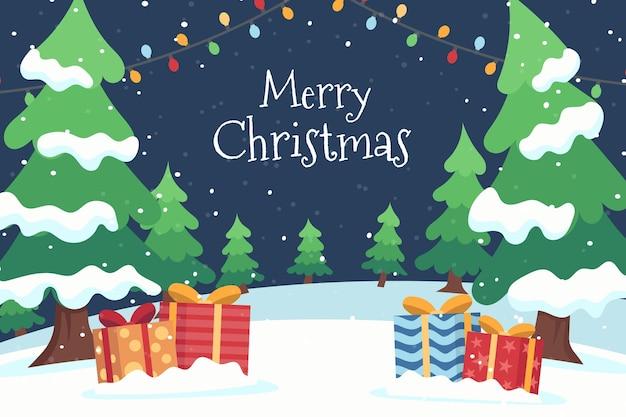 Hand drawn flat christmas background