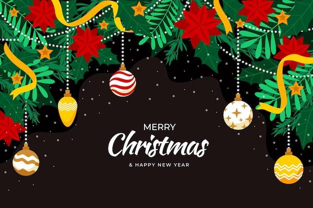 手描きのフラットなクリスマスの背景