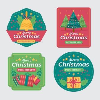 手描きのフラットクリスマスバッジコレクション