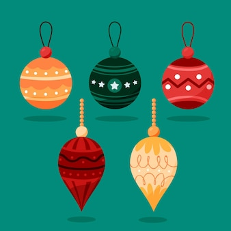 Hand drawn flat christmas ball ornaments collection