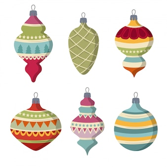 Hand drawn flat christmas balls collection  isolated items