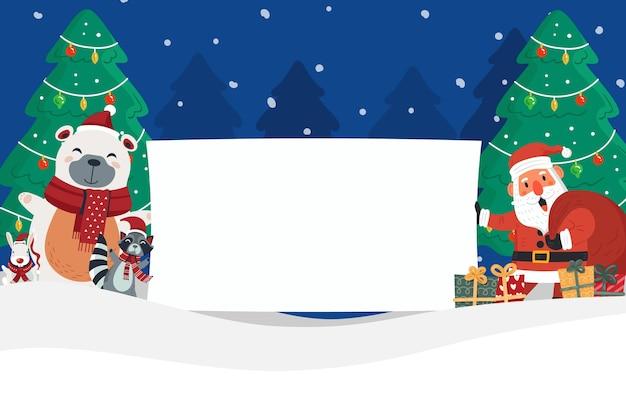 空白のバナーを保持している手描きフラットクリスマスキャラクター