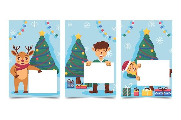 Ручной обращается плоский рождественский персонаж держит пустой баннер