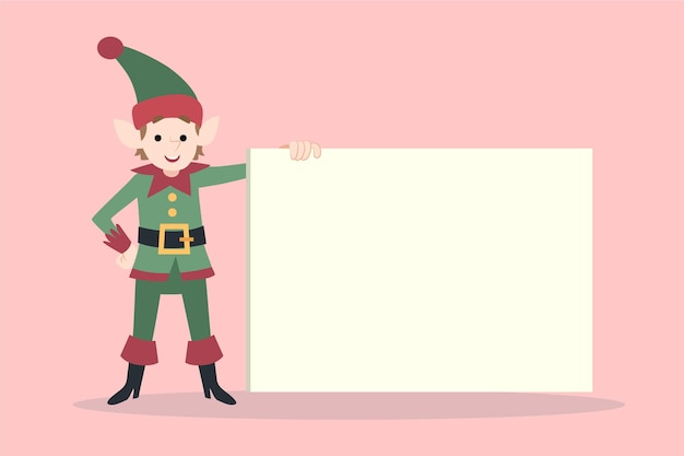 Hand drawn flat christmas character holding blank banner
