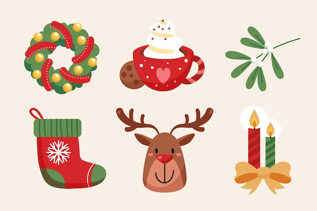 Hand drawn flat christmas elements collection