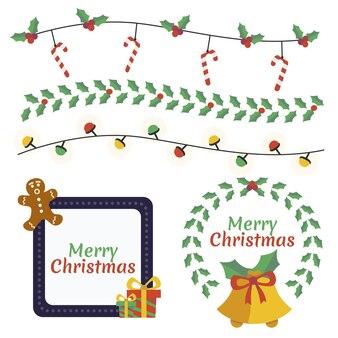 손으로 그린 평면 크리스마스 프레임 및 테두리 컬렉션