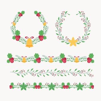 手描きのフラットクリスマスフレームとボーダーコレクション