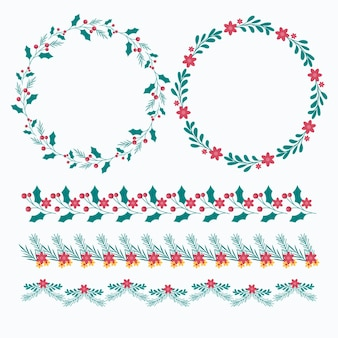 Hand drawn flat christmas frames and borders collection