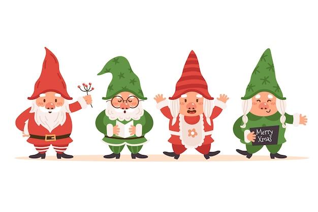 Коллекция рисованной плоских рождественских гномов