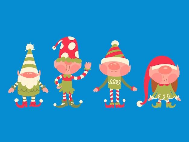 Collezione di gnomi natalizi piatti disegnati a mano