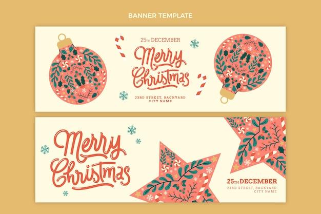 Набор рисованной плоских рождественских горизонтальных баннеров