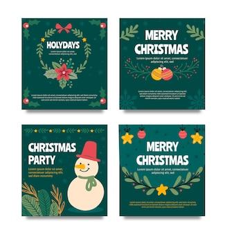 손으로 그린 플랫 크리스마스 인스 타 그램 게시물 컬렉션