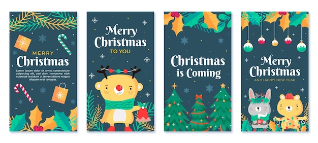 Hand drawn flat christmas instagram stories collection