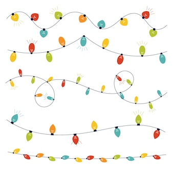Hand drawn flat christmas lights collection