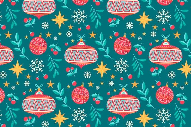 Hand drawn flat christmas pattern