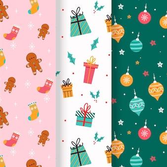 手描きのフラットクリスマスパターンコレクション