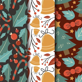Hand drawn flat christmas patterns collection