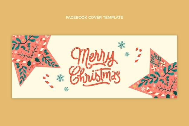 Hand drawn flat christmas social media cover template