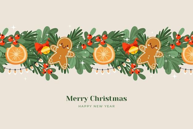 Ручной обращается плоский рождественский фон мишуры