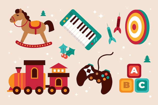 Коллекция рисованной плоских рождественских игрушек