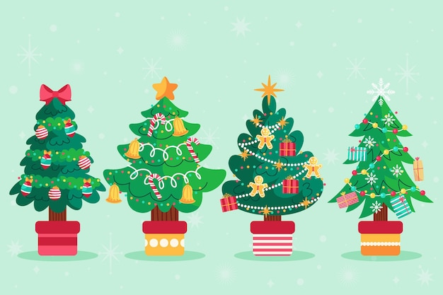 Hand drawn flat christmas trees collection