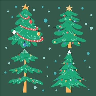 手描きのフラットクリスマスツリーコレクション