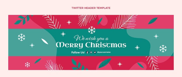 Ручной обращается плоский рождественский шаблон обложки twitter