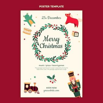 Hand drawn flat christmas vertical poster template