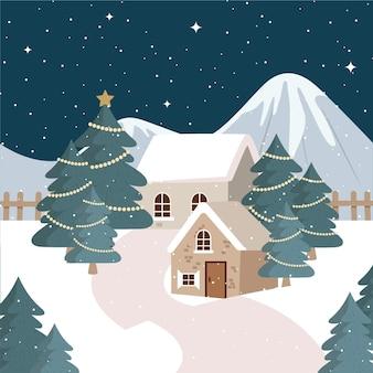 Hand drawn flat christmas village illustration