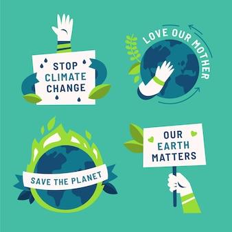손으로 그린 평면 기후 변화 배지 컬렉션