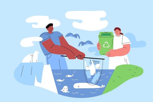 Нарисованная рукой плоская иллюстрация концепции изменения климата