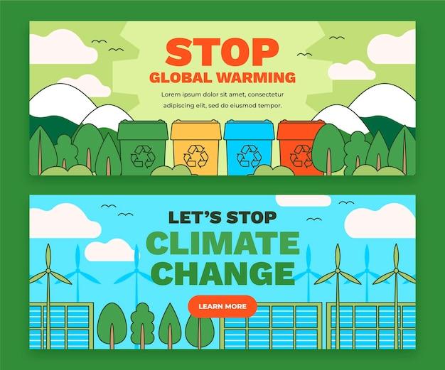 Set di banner orizzontali di cambiamento climatico piatto disegnato a mano
