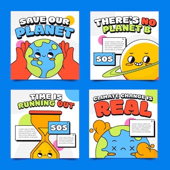 Hand drawn flat climate change instagram posts