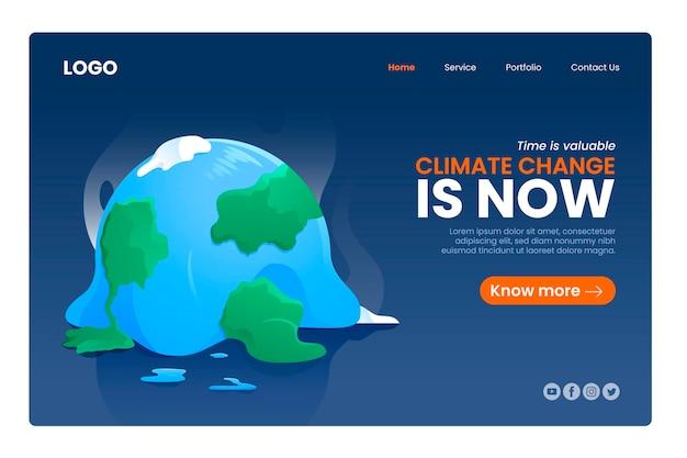 手描きのフラットな気候変動のランディングページ