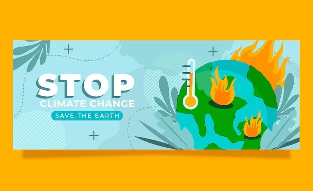 Ручной обращается плоский шаблон обложки в социальных сетях по изменению климата