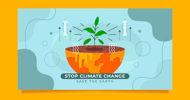 手描きフラット気候変動ソーシャルメディア投稿テンプレート