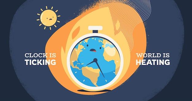 손으로 그린 평면 기후 변화 소셜 미디어 게시물 템플릿